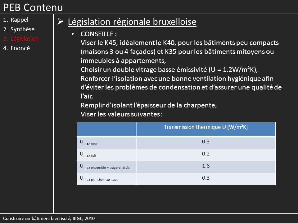Transmission thermique U [W/m²K]